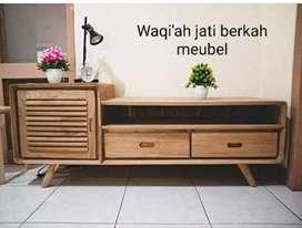 Meja tv model retro minimalis moderen, P. 150cm, bahan kayu jati tua