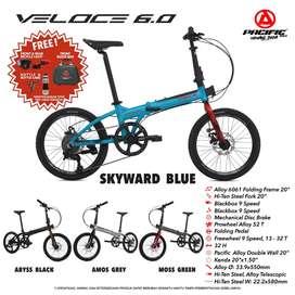 Sepeda Lipat 20 Pacific Veloce 6.0 Alloy 9 Speed Banyak Bonus