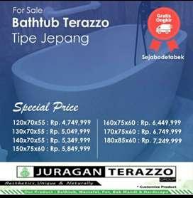 Bathtuh Handmade Bali Terazzo tipe Jepang P130cm Unik dan Mewah