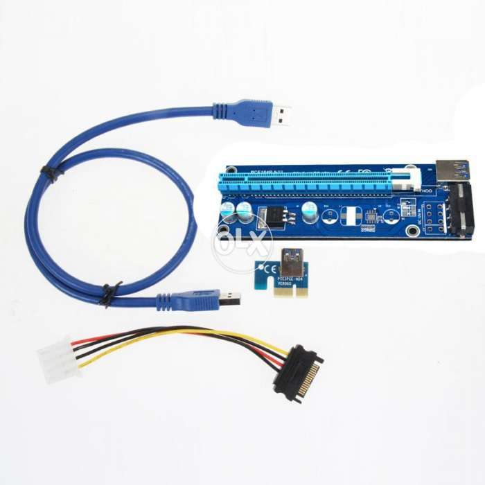 PCI-E Express Extender Riser Card with SATA 15pin to 4pin Power Cable 0