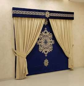 Curtains blinds, wallpaper, furniture flooring, Arabic majlis