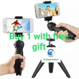 Mini portable tripod+mobile holder with free gift