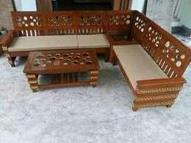 Kursi tamu L minimalis model donat material kayu jati