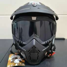 Helm JPN kawai momo hitam doff pet googles mask