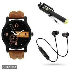 Bluetooth headphone, Men's watch and selfie stick