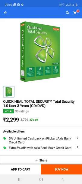A quick heal total security 1 user 2.5 years key