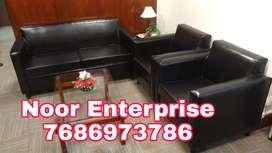 Fully black colour leatherite living room sofa set