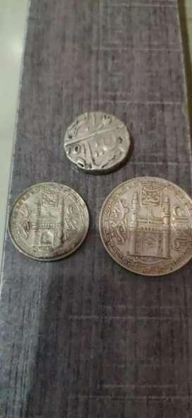 Akbar badashah period antique silver Coin