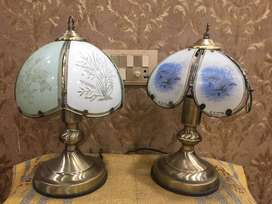 UK Imported Glass  panels , Brass base  touch Lamps
