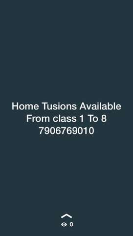 Home Tusions For class 1 To 8 CBSE Board
