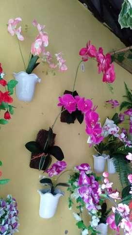 Bunga palsu Anggrek pot dinding home dekorasi - Merah