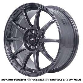Cicilan Velg Mobil Murah Hsr Indy R17X7.5 H10X100-114,3 ET45 GM