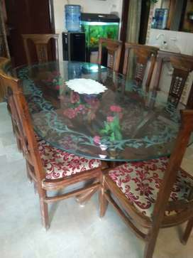 Glass Dining Table with 8 Chairs Set
