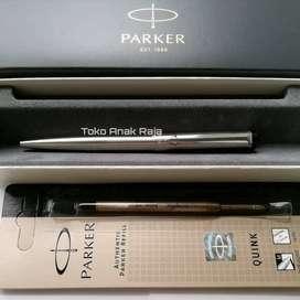 PAKET 1 KLIK: 1 Pc Parker Vector Stainless SS Ballpoint+1 Pc Refill BP