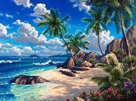 lukisna kanvas pemandangan laut