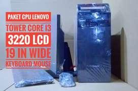 Paket pc lenovo core i3 3220 lengkap lcd 19 in