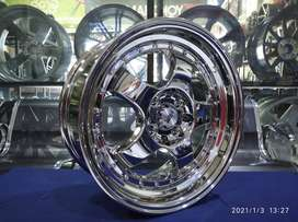 Velg mobil racing CHROME Brisket HSR R16 Jazz Yaris Brio Avanza