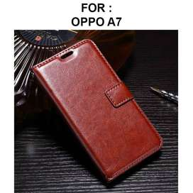Flip cover wallet case Oppo A7 casing hp leather dompet kulit retro