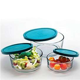 Pack of 3 High Quality Crystal Clear Glass Bowl With Air Tight Multi-c