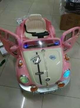 Mobil aki kendaraan mainan anak Vw kodok lucu stok baru fset