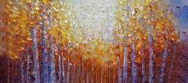 lukisan kanvas modern pemandangan hutan