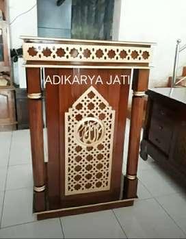 Mimbar podium modern ornamen maroko kayu jati  .