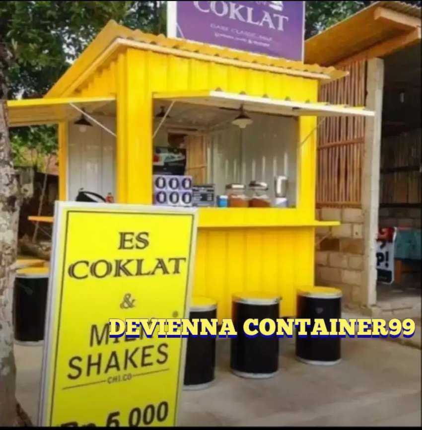 Booth es coklat booth semi container kekeinian booth Container custom. 0