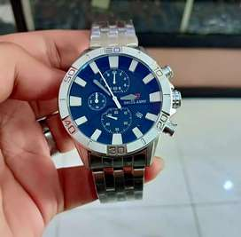jam tangan swiss blue glossy chrono on full body silver