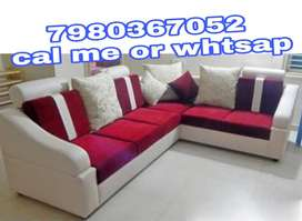 Brand new 6 seater L shape sofa set in red and white color