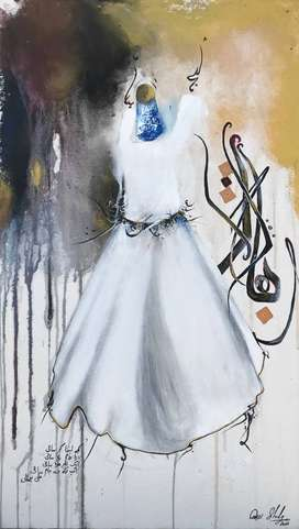 Dervish Whirling Hand Made Original Painting on Canvas with Acrylics