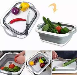 Basket for washing vegetables with cutting board