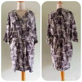 Preloved Dress Nestia _ Katun Lemas Abu2 Kombinasi Fit L to Xl
