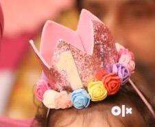 Birthday crown for one year old baby girl in pink colour 0