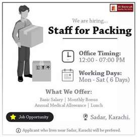 We are hiring staff for packing our online orders