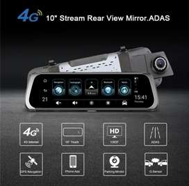 Rear view mirror with touch and dual camera