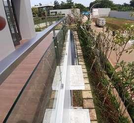 Railing tangga stainless kaca dan balkon kaca #4703