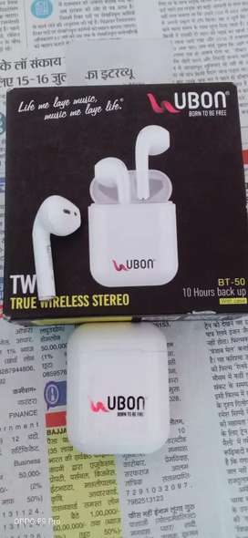 Ubon Wireless Earphone With Charing Pod and Cable