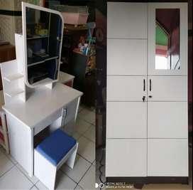 1 paket meja rias + lemari 2 pintu full putih cuple mode