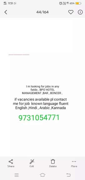 I m looking for job in Bpo or hotel management , events