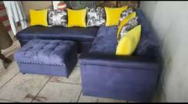 L shape navy blue out standing sofa set brand new