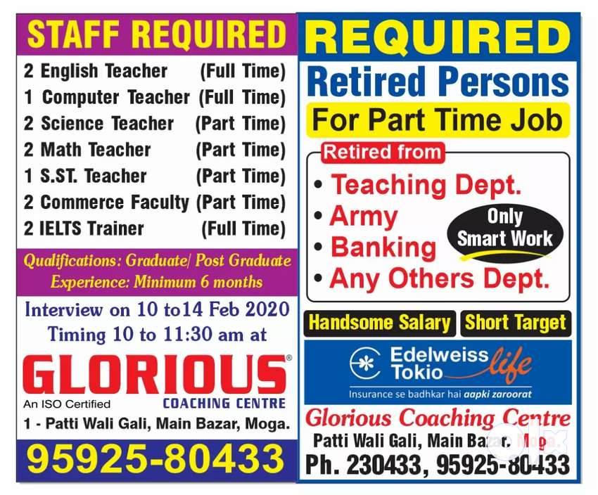 Staff required for Glorious coaching centre Moga 0