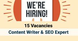 15 Vacancies: Content Writer & SEO Experts