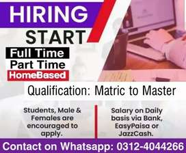 Staff Required (Full time/Part time and Online Home Based Jobs)