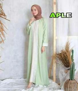 Baju gamis dress wanita aplikasi renda Gisela (COD)