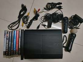 PS3 Super Slim 500GB With PS Move, Skull Candy Hdphn Cnnctr, 8 Games