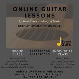 Online Guitar Classes - Guitars Available on Rent
