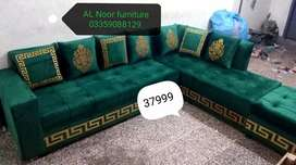 Green Golden L shape sofa In sale prize importd quality