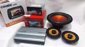 Paketan audi full kelengkapan head unit - headrest-power-sub- speaker