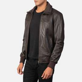 Fashion best new 2021 Air Rolf Brown Leather Bomber Jacket