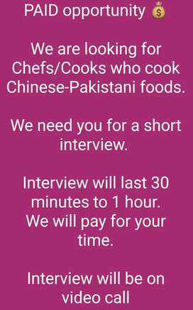Chinese chef required for PAID interview